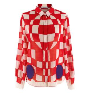 JW Anderson Checkerboard Print Blouse In Pillar Box Red