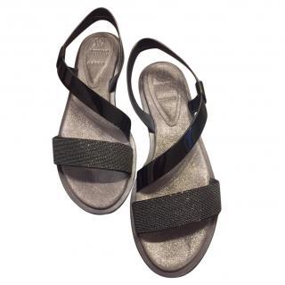 Brunello Cucinelli black leather sandals