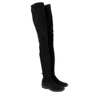 Balenciaga Black Suede Thigh Boots