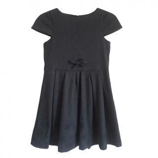 Jacadi Grey Wool Blend Embroidered Dress