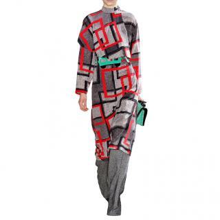Loewe Red Airbrush Square Cape Dress