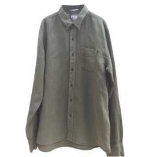 Replay khaki green linen shirt