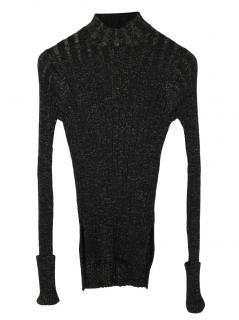 Theory Black Metallic Stretch Knit Jumper