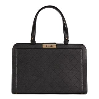 Chanel large black lambskin Label Click Tote Bag