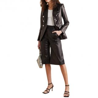 Veronica Beard Black Miller Dickey double-breasted leather blazer