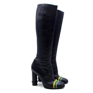 Loewe Round Heel Navy Knee Boots with Stripe