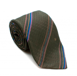 Dior Khaki Blue Striped Tie