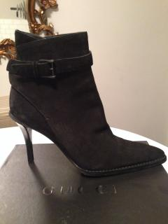 New Gucci black suede ankle boots