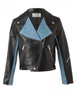 ACNE Denim panelled leather biker jacket s.34
