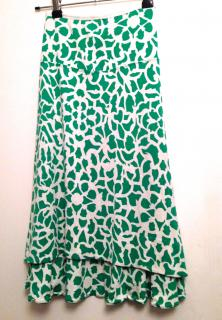 Diane von Furstenberg silk green and white skirt