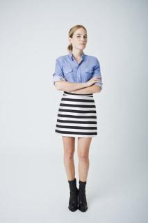 New Smythe striped A line skirt