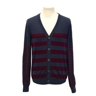 New J.Lindeberg navy striped knit cardigan