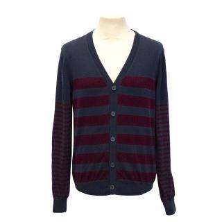 New J.Lindeberg navy striped knit cardigan