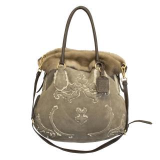 Prada Mocha shearling and mink combo bag