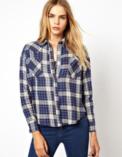 New LNA cropped flannel shirt