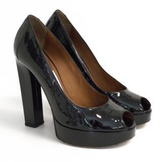 Lanvin Patent black peep toe heels