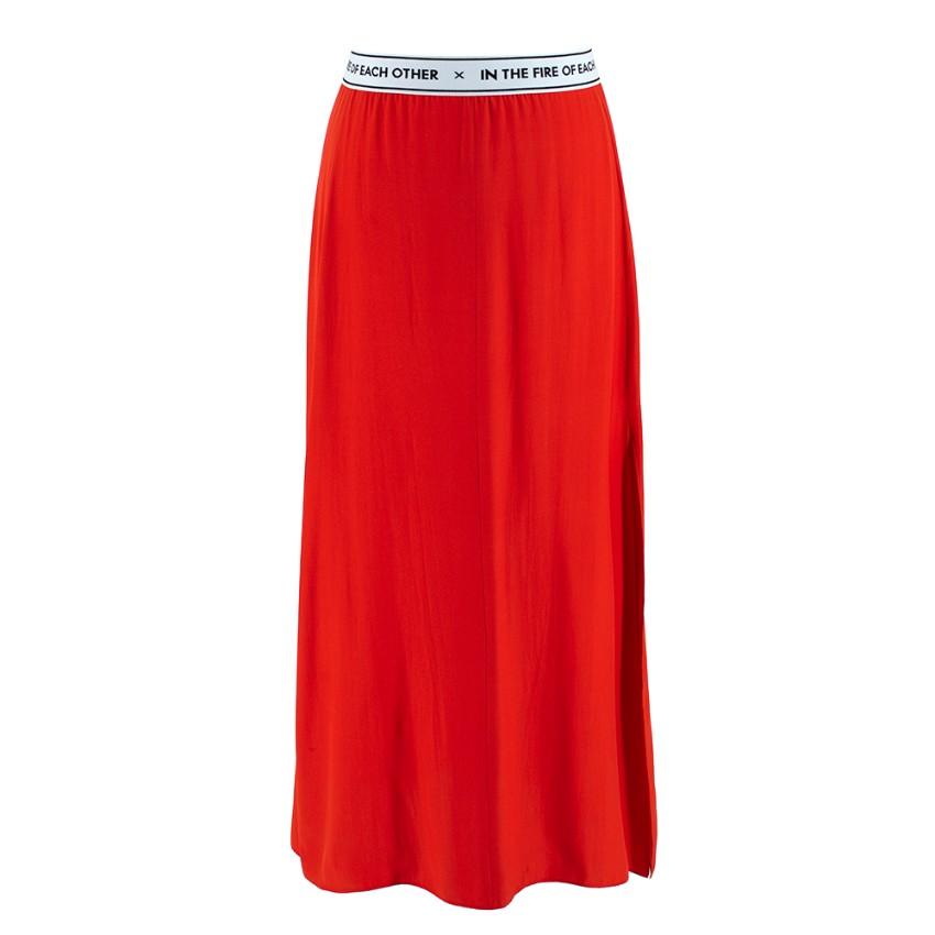 Each x Other Red Silk Slit Skirt