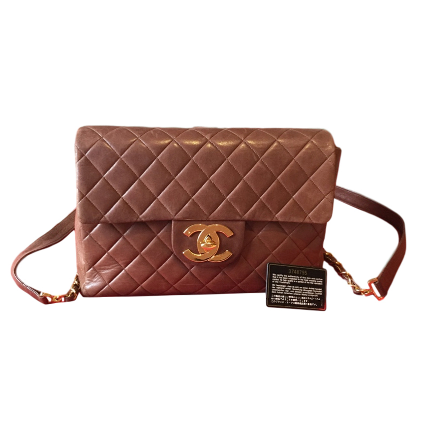 Chanel vintage brown quilted leather backpack