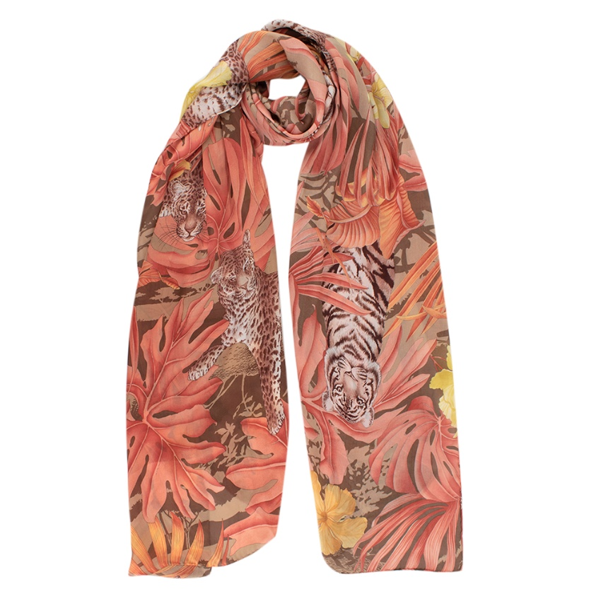Salvatore Ferragamo Animal & Floral Print Silk Scarf