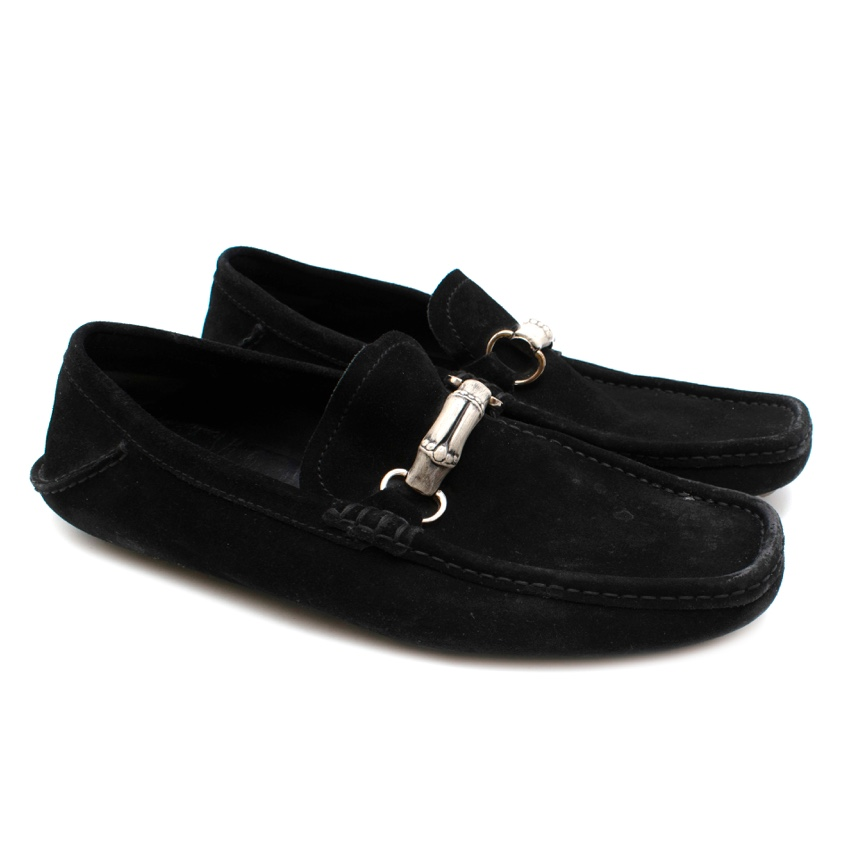 Gucci Black Suede Moccasin Loafers With