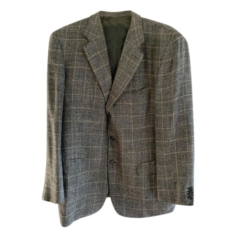 Loewe Grey Silk, Linen & Wool Single Breasted Jacket
