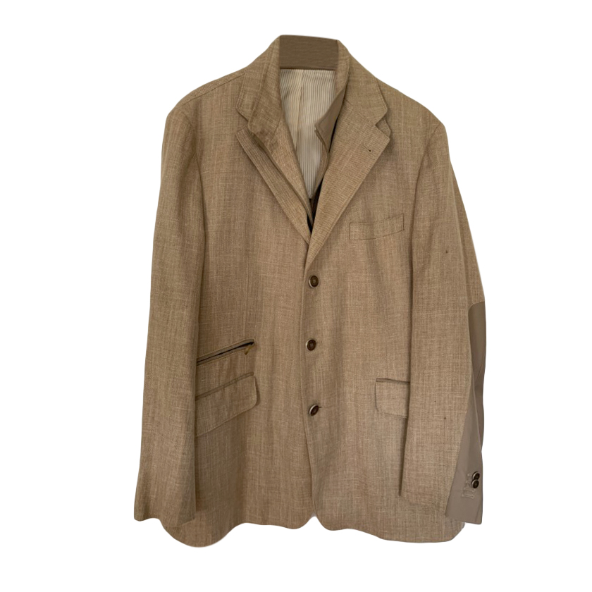Corneliani Beige Silk, Linen & Wool Single Breasted Jacket