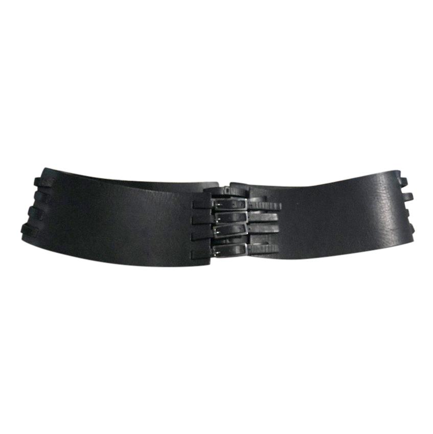 Amanda Wakeley Black Leather Buckle Detail Wide Belt