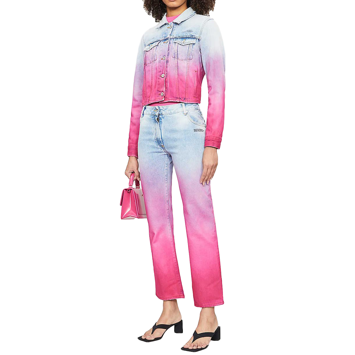 Off White Virgil Abloh pink and blue gradient jeans