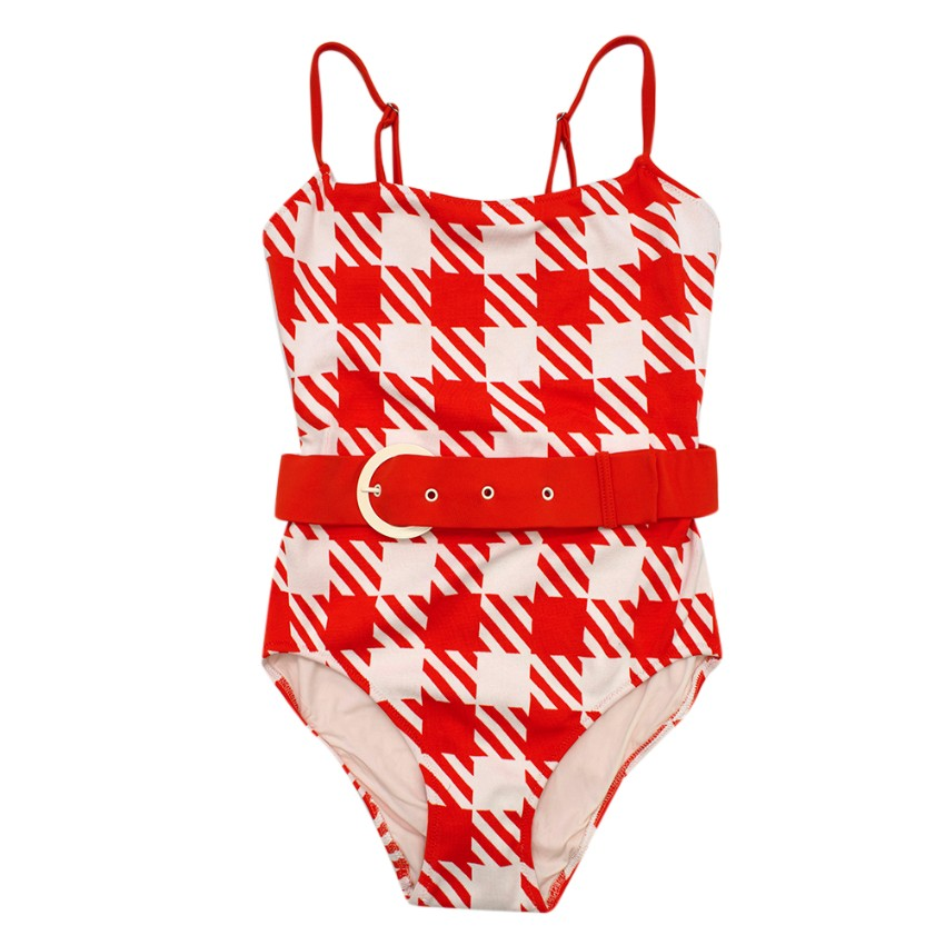 Solid & Striped Red & White Patterned Swimsuit