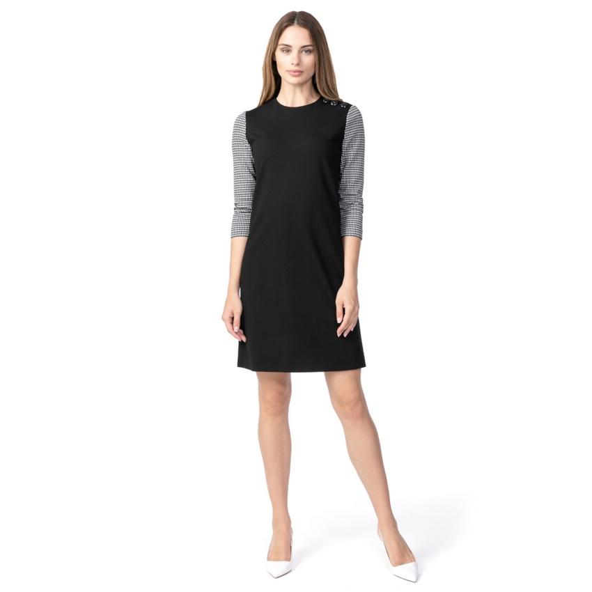 Escada Sport Black Houndstooth Sleeve Dress
