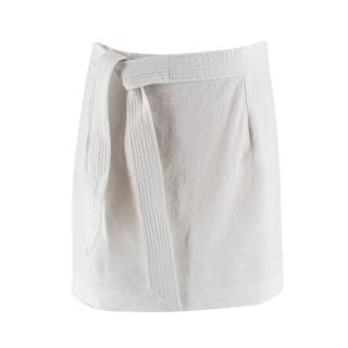 Isabel Marant White Linen Blend Tie Waist Mini Skirt