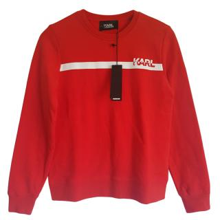Karl Lagerfeld Red Logo Stripe Jumper