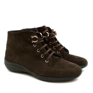 Ferragamo Brown Suede Shearling Lined Desert Boots
