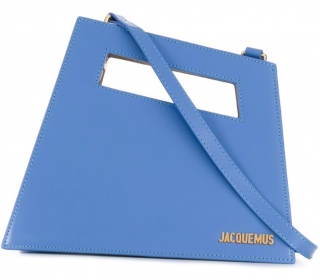 Jacquemus Baby Blue Leather Asymmetric Tote Bag