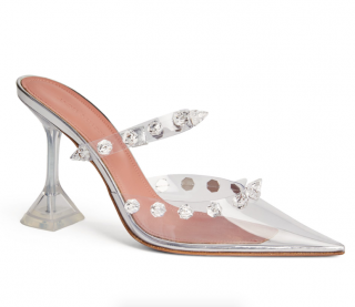 Amina Muaddi Crystal Embellished PVC Mules - New Season