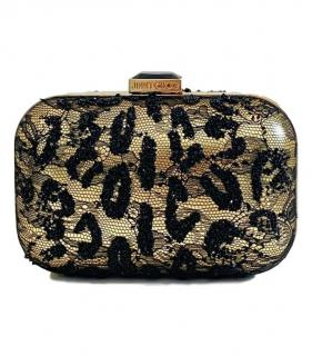 Jimmy Choo Black & Gold Lace Embellished Clutch