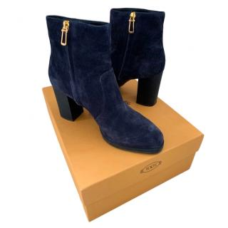 Tod's navy blue suede ankle boots