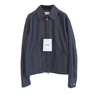 Alexander McQueen Black Leather Bomber Jacket