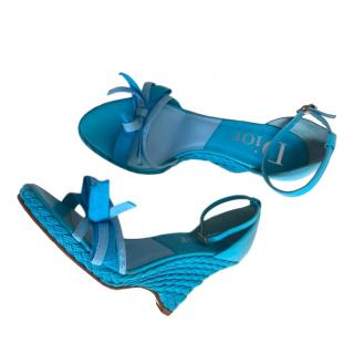 Dior Blue Woven Leather Wedge Sandals