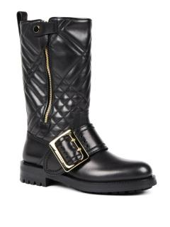 Burberry Leather Quilted Boots with Buckle Detail