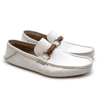 Gucci Mens White Bamboo Loafers