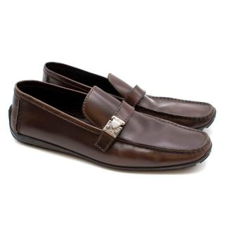 Louis Vuitton Shiny Leather Brown Loafers