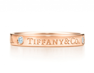 Tiffany & Co. band ring in 18k rose gold with round brilliant diamonds