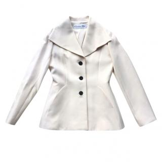 Christian Dior off white wool silk blend 2019 collection bar jacket