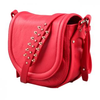 McQ by Alexander McQueen Red Studded Amwell Shoulder Bag