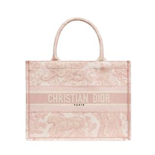 Christian Dior small pink toile de jouy book tote