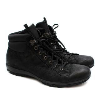 Prada Black Leather Men's High Top Trainers