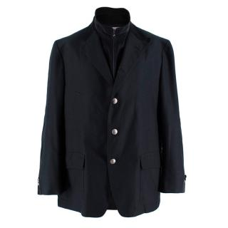 Corneliani Black Men's High Neck Tailored Coat