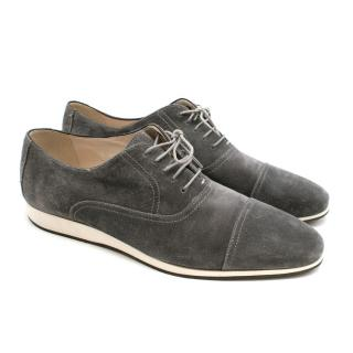 Balmain Grey Suede Lace Up Trainers