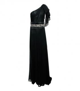 Marchessa Silk One Shoulder Black Gown